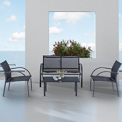 Luxury Garden Set 4pcs Contemporary Black Textilene Mesh Sofa Table 2 Chairs New image 9