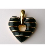 Fine Enamel Black and Gold Heart Pendant Joan R... - $15.95