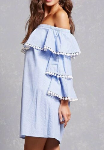 Forever 21 Blue & White Striped Tiered Ruffle Pom Pom Off The Shoulder Dress M image 2