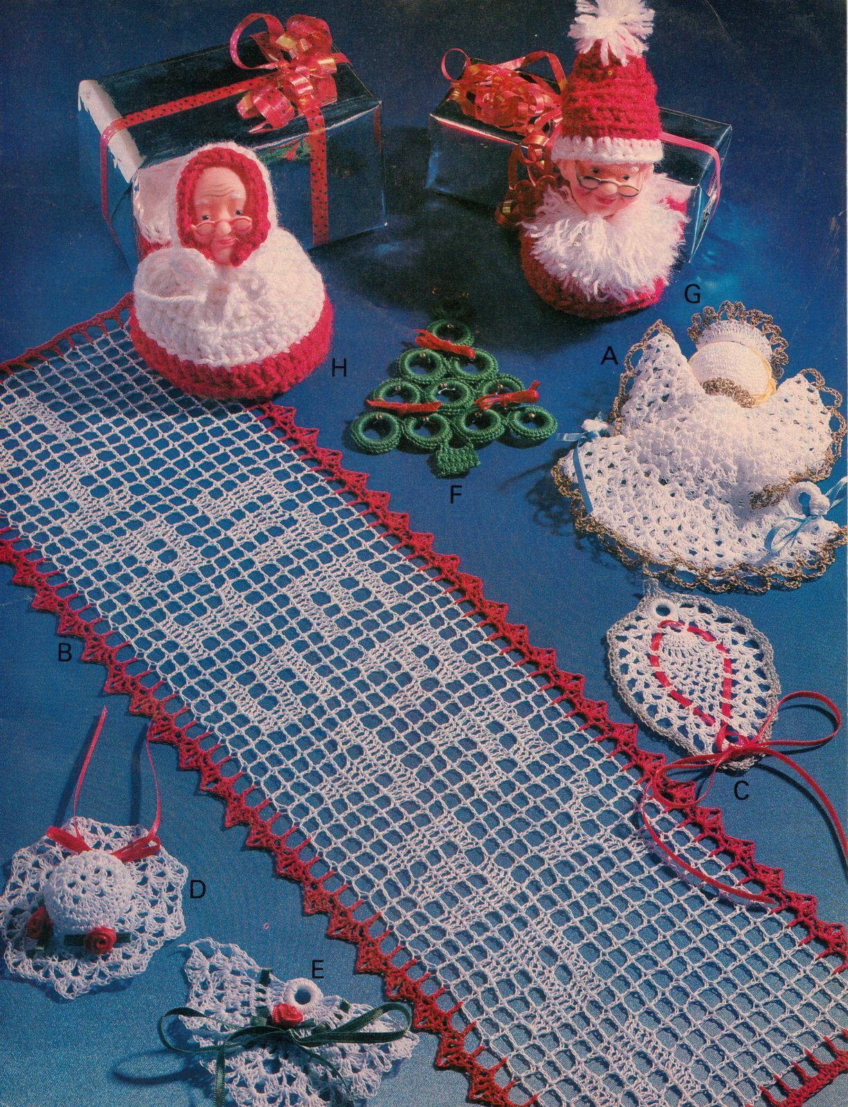 Primary image for Merry Xmas Doily Runner Ornaments Angels Bells Tree Santa Crochet Pattern