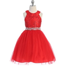 Red Halter Neck Sequin Floral Embroidery Lace Bodice Rhinestones Sash Gi... - $48.95