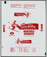 Vintage wrapper SUN VALLEY BRUSSELS SPROUTS skier pic Seattle Washington... - $8.99