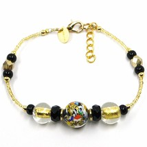 BRACELET MACULATE MULTI COLOR MURANO GLASS SPHERE, GOLD LEAF, MADE IN ITALY image 1