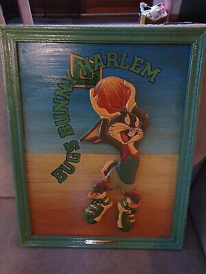 Primary image for Extremely Rare! Looney Tunes Bugs Bunny Playing Basketball Old Wooden 3D Art