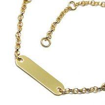 Bracelet Yellow Gold 18K 750, Baby Girl, Plate, Angel, Length 16.5 CM image 3