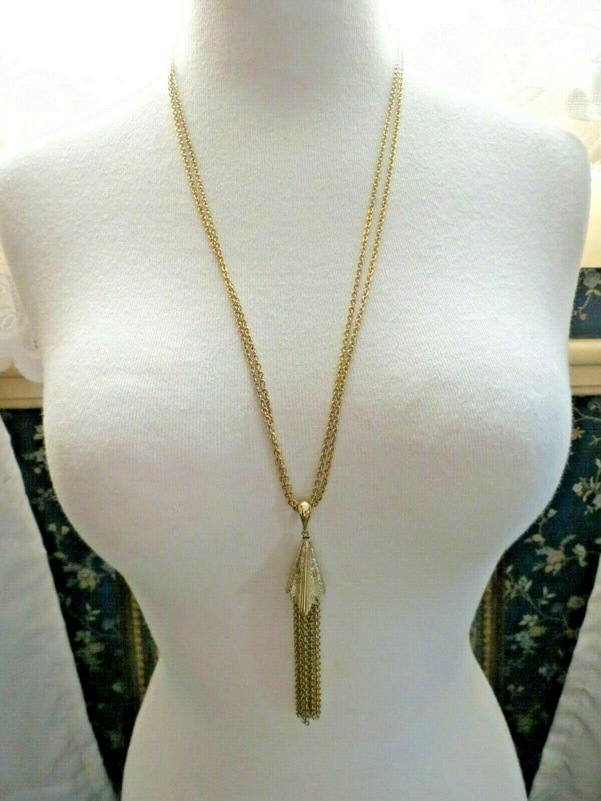 """VTG Monet Tassel Necklace Double Multi Chain Designer Gold Plated 28"""" Long"""