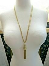 """VTG Monet Tassel Necklace Double Multi Chain Designer Gold Plated 28"""" Long image 1"""