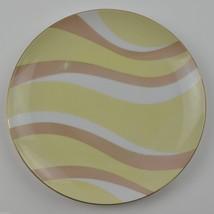 Mascot China NA-960 Pattern Salad Plate Yellow Pink Swirl Stripe Tableware Gold - $6.99