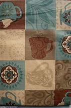 """Coffee Cups Brown Blue vinyl flannel back tablecloth 52"""" x 90"""" Oblong - $8.99"""