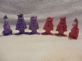 "Flintstones 1987 Post Pebbles Cereal Premium Set Purple x 3 & Pink x 3 - 2"" - $11.95"