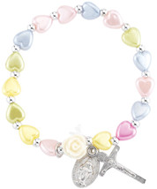 Religious Jewelry Multi-Color Glass Heart Bead Bracelet with Silver Tone... - $51.60