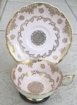 Paragon Pink Lace & Gold Bone China Teacup Saucer Set England Gold Mint ... - $48.51