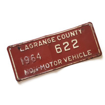 Vintage 1964 Lagrange County Indiana Amish Buggy License Plate Number #622 - $39.55