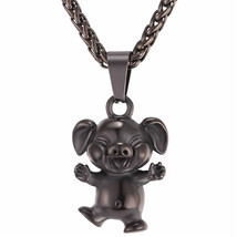 U7 Cute Little Pig Necklace Gold Color Stainless Steel Chain & Pendant A... - $19.76