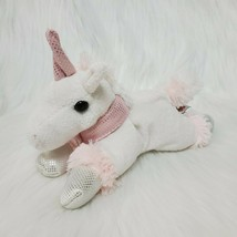 "8"" Unipak Unicorn Pink White Silver Plush Stuffed Animal Toy Lovey B350 - $12.97"