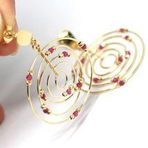 Drop Earrings Yellow Gold 750 18K, Circles Set, Tourmaline, Red Balls image 3