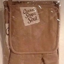 New Chicken Soup For The Soul 3 Piece Kitchen Pot Holder Oven Mitt Apron... - $20.32