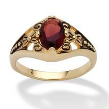 Birthstone 14k Gold-Plated Filigree Ring-January - Simulated Garnet - $20.82