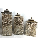 Glass Mosaic Canisters Gold Home Decor Candle Holders Square 3 Pieces w ... - $106.92