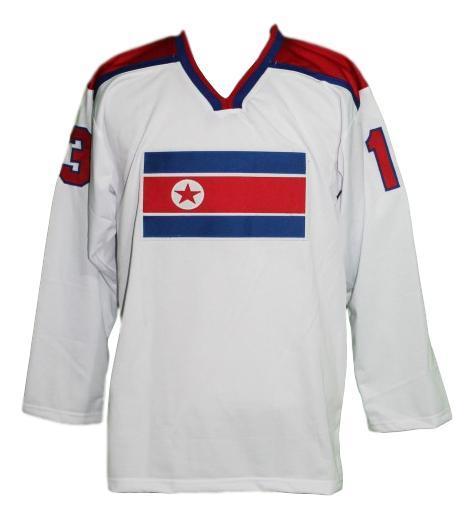 North korea retro hockey jersey white   1