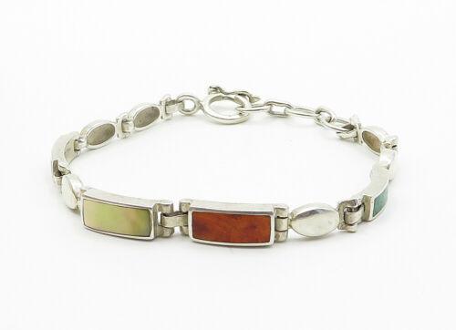 925 Sterling Silver - Vintage Mother Of Pearl & Jasper Chain Bracelet - B6194
