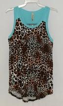 Pomelo Girls Tunic Aqua Brown White Black Leopard Print Size Bedium - $16.00
