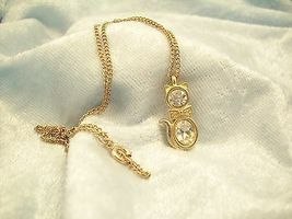 CZ Kitty Cat Pendant Cubic Zirconia Necklace Gold Plated Figural Sparkle Signed image 9