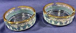 2 JEANNETTE GLASS Blue Hellenic Blue Jasperware Grecian Greek Roman Asht... - $9.74