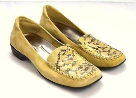 ENZO ANGIOLINI Tan Snake Skin Embossed Suede Leather Moccasin Loafer Shoes 7.5 M - $11.87