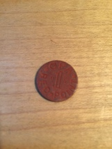 Vintage 1940s OPA Red Point 1 Ration Coin image 2
