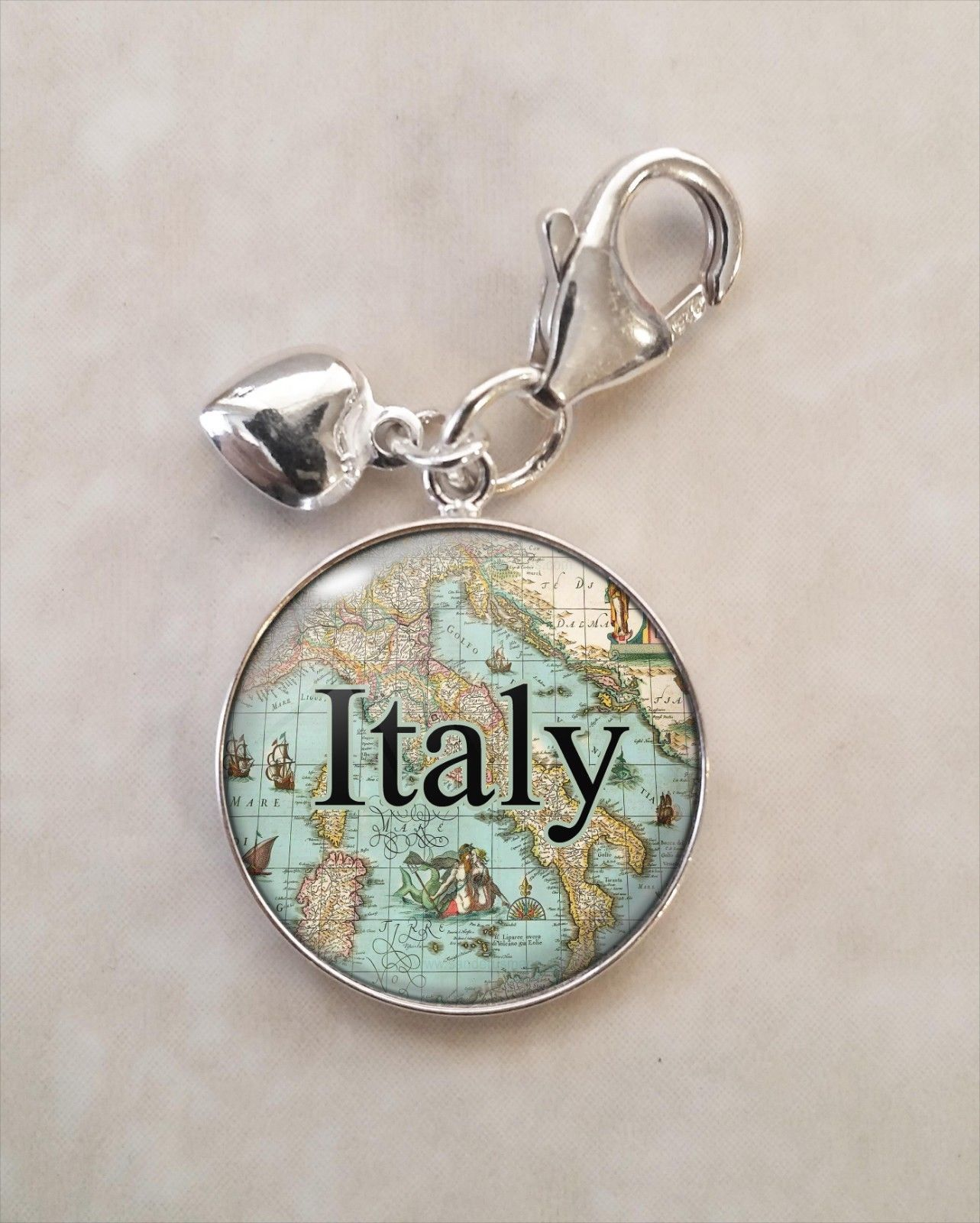 Primary image for Choose Italian Italy City Antique Map Cartography .925 Sterling Silver Charm