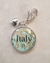 Choose Italian Italy City Antique Map Cartography .925 Sterling Silver Charm - $30.50+
