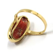 SOLID 18K YELLOW GOLD RING, CABOCHON CENTRAL NATURAL CORAL 18X9mm, MADE IN ITALY image 4
