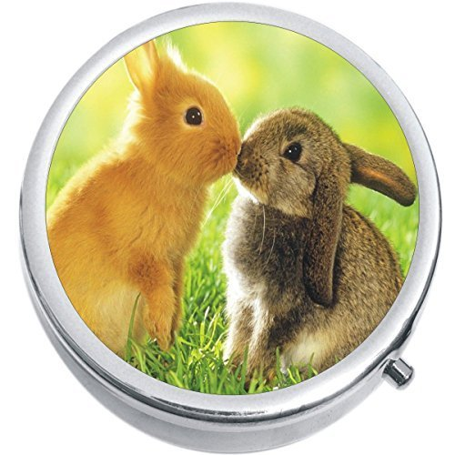 Primary image for Bunnies Kissing Medicine Vitamin Compact Pill Box