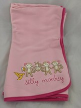 """Gymboree Pink Blanket Silly Monkey About 31"""" x 36""""   - $49.95"""