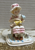 Vintage NAPCOWARE Iridescent Figurine of Girl On Stool With Doll and Kitten - $11.99
