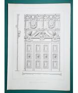 ARCHITECTURE PRINT 1864 - PARIS France Church Eglise Saint Paul Wooden Door - $22.46