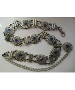 """Vintage Women's Embossed Metal Belt W/Blue Rhinestones 41"""" Long- Adjustable - $49.50"""