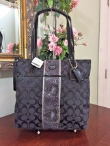 New Coach Bag Exotic Signature Stripe Python Tote Shoulder Grey Black F2... - $106.42