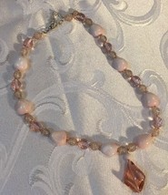 "Grandmas Estate Rose & Pink Glass Beads Facet Cut; Glass Pendant 16"" - $11.87"