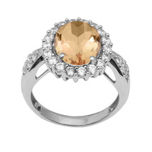 Citrine With White Topaz Gemstone 925 Silver Cluster Halo Solitaire Wedd... - $34.91