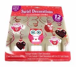 Valentine's Day Hanging Decorations Swirls Owl Theme Six Swirls Party De... - $9.85