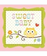 Happi Tree 16 Ct Pink Beverage Napkins Baby Shower Girl Sweet Baby Owl P... - $3.85