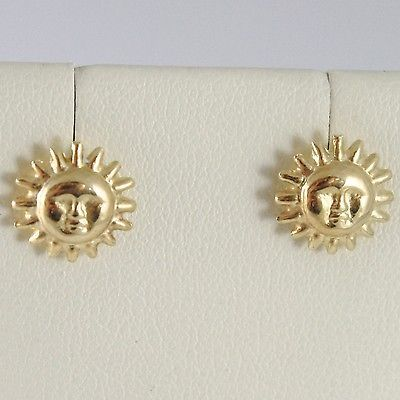 YELLOW GOLD EARRINGS 750 18K LOBE, SUN CONVEX, DIAMETER 1 CM