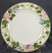 Mikasa Floral Brocade Y0259 Dinner Plates Flowers Leaves and Lattice on ... - $47.95