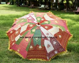 Indian Garden Parasol Embroidered Silk Outdoor Sunshade Umbrella Round D... - $157.66 CAD