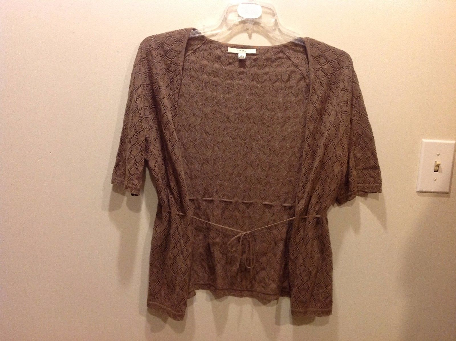 Merona Brown Crocheted Patterned Flowy Open Front Top w Tie String Sz M