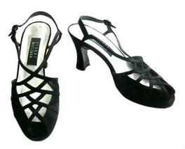 Stuart Weitzman Retro Black Silk Open Toe Slingback Shoes size 7 1/2 B - $42.00