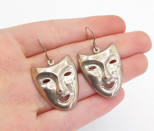 Primary image for 925 Sterling Silver - Vintage Dramatic Theater Masks Dangle Earrings - E9510