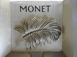 New Monet Brooch / Pin Lovely Textured Goldtone Leaf With Rhinestones - $7.91